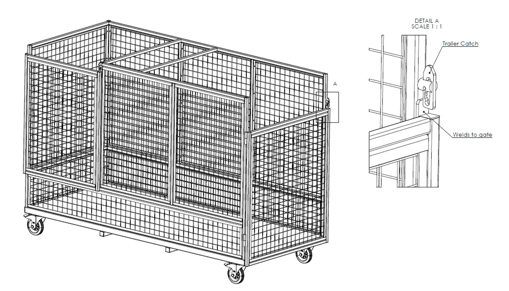 Drawing of a Caged de-trash trolley