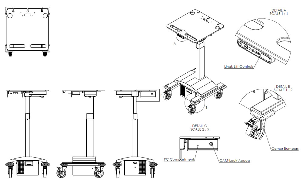 Height adjustable trolley with an 8 hour capacity power pack