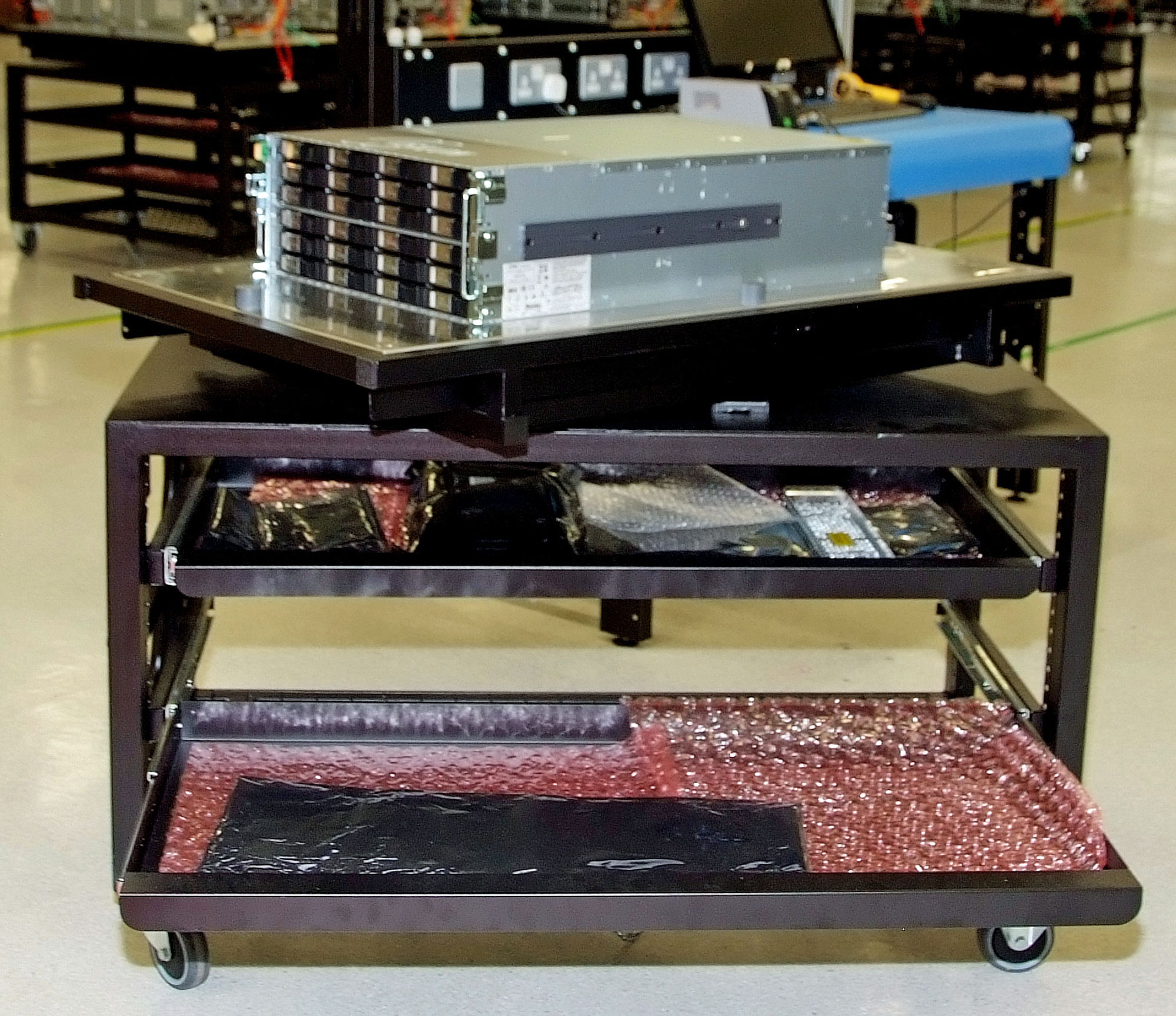 Photo of a server test trolley with swivel-top