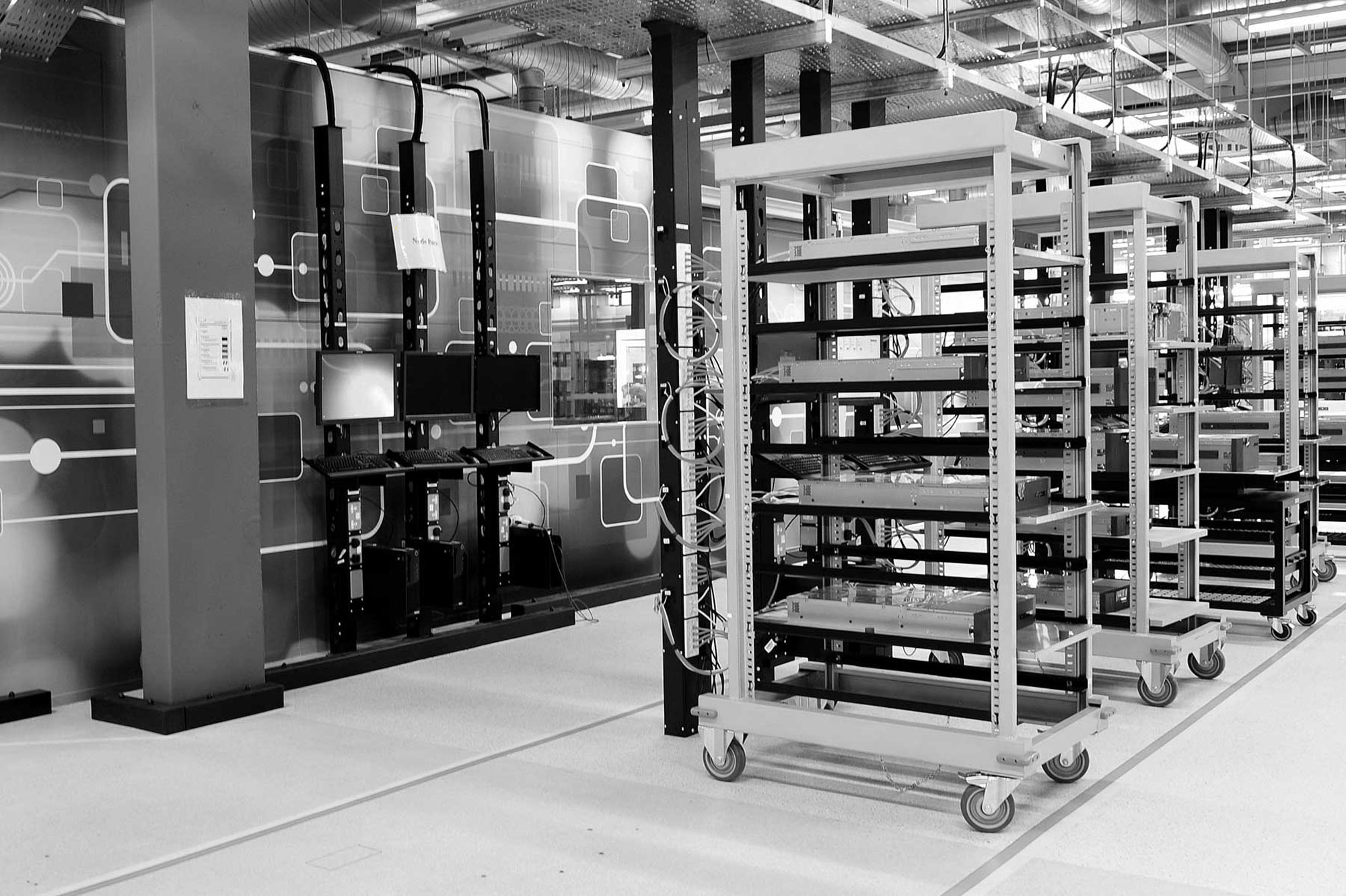 Photo of connected server trolleys