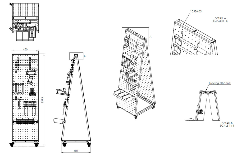 Concept drawing of a tool trolley with shadow board