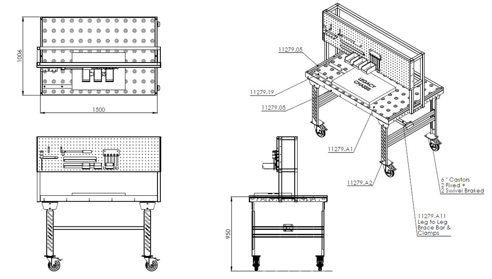 Design drawing of a trolley with ball transfer bearings