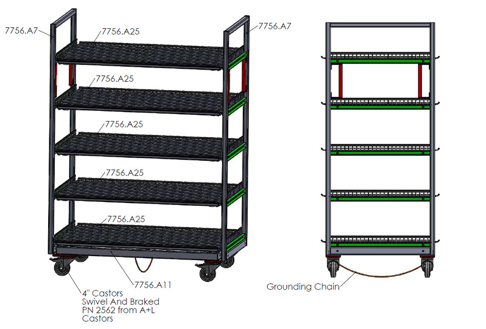Drawing of a trolley with grounding chain